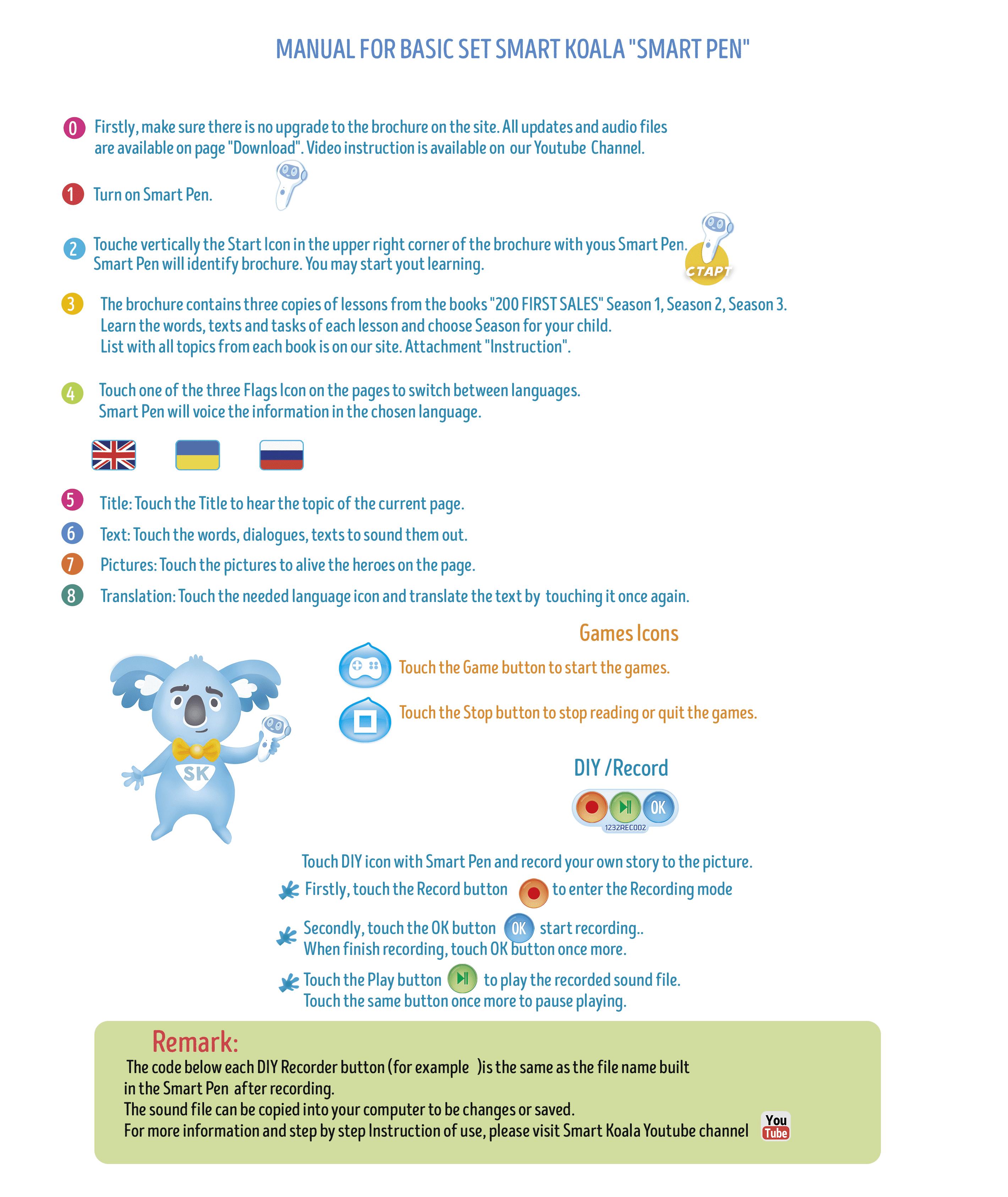 Basic Set Smart Koala Pen 200 Words Season 1 2 Ok Instruction